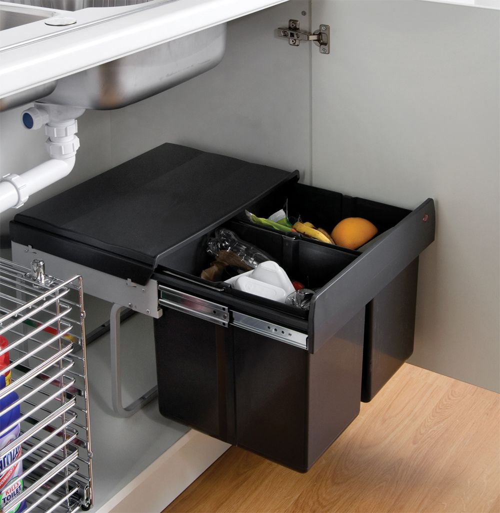 Under Kitchen Sink Cabinet Wesco Shorty Waste Bin  The Full Extension 'shorty' Waste Bin Is