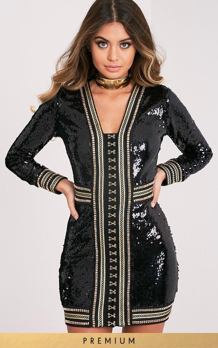 Anisha Black Premium Embellished Sequin Bodycon Dress Image 1 ...