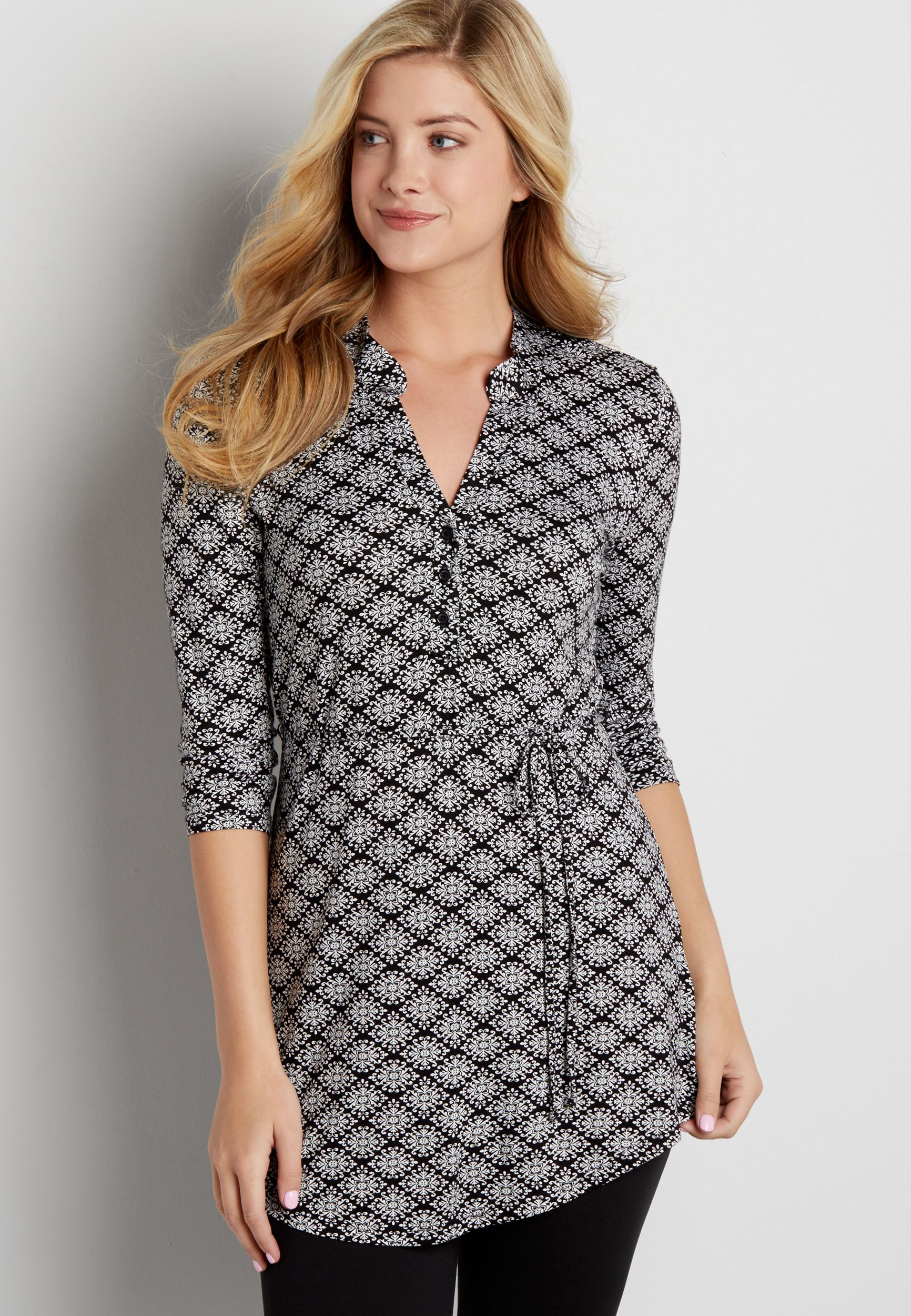 f4c273ae84f patterned tunic top with tie waist (original price, $32.00) available at  #Maurices