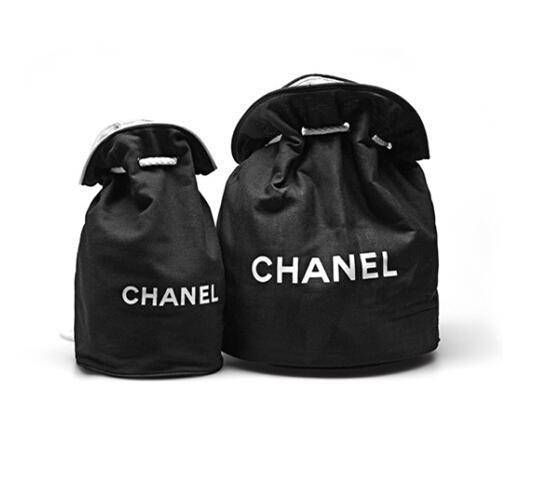 5f1c1c837ded11 Set of 2 Chanel Canvas Bucket Makeup Travel Gym Duffle Bags Small and Large  Vip Gift