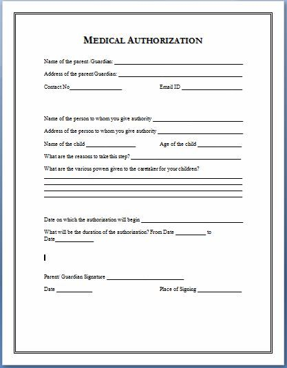 Medical Authorization Form Template  To Copy
