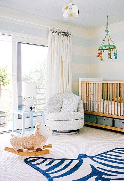 This South Carolina Nursery Is Full Of Bold, Contemporary Flourishes, From  Hand Painted Sky Blue Stripes On The Wall To A Faux Zebra Rug.