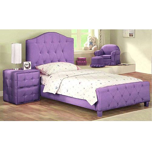 diva upholstered twin bed with solid wood frame purple 19989 - Twin Bed Frames For Kids