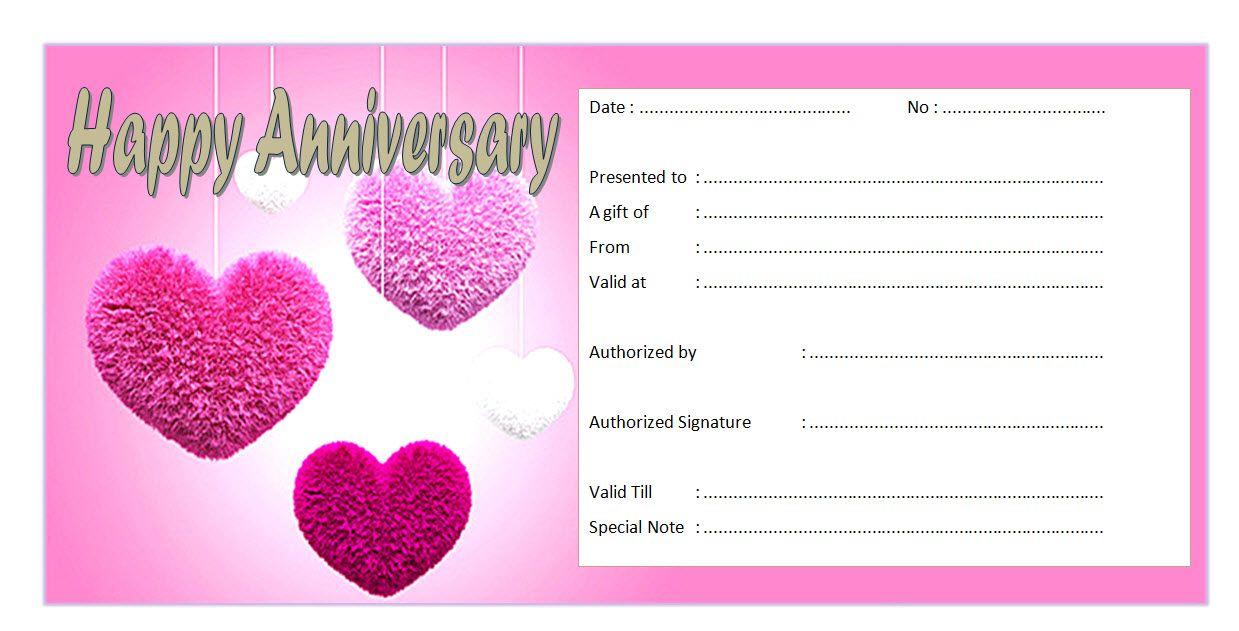 Anniversary Gift Voucher Template Free Love Theme 1 Happy Anniversary Gifts Gift Certificate Template Printable Gift Certificate