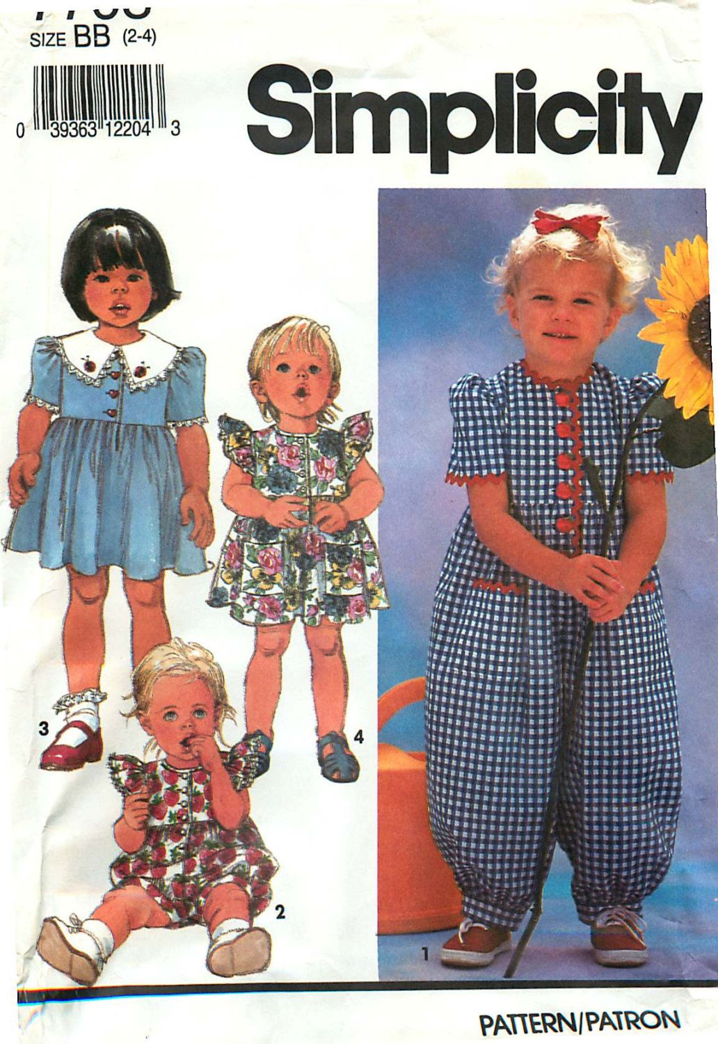 Simplicity 7703 sewing pattern for toddler romper and dress sizes simplicity 7703 sewing pattern for toddler romper and dress sizes 2 4 by carlashope jeuxipadfo Choice Image