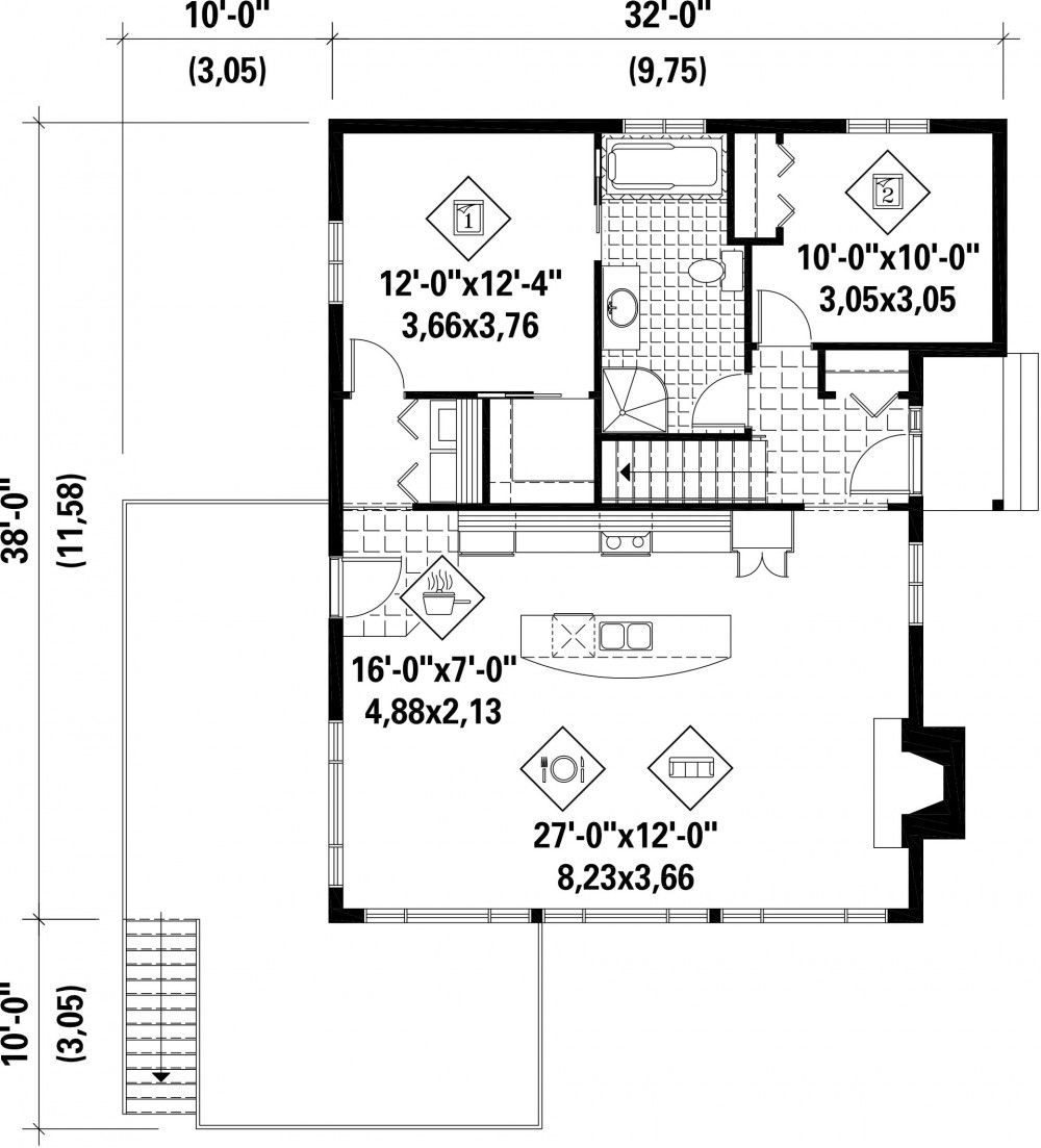 60227 Planimage in 2020 Cabin floor plans, House plans