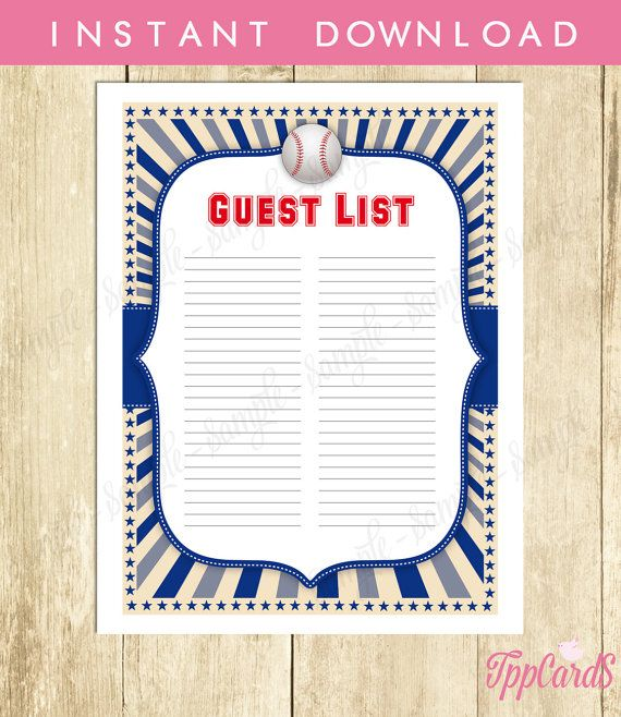 Instant Download Baseball Guest List Printable Baseball Baby Shower Guest  Sign In Sheet Blue Red Baseball  Baby Shower Guest List Printable