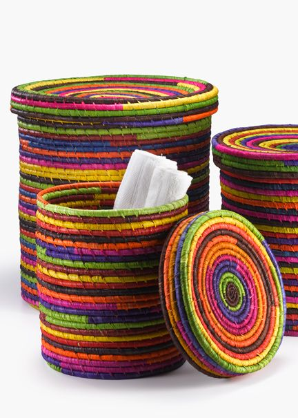 Basket Weaving With Raffia : Multicolor raffia baskets with lids