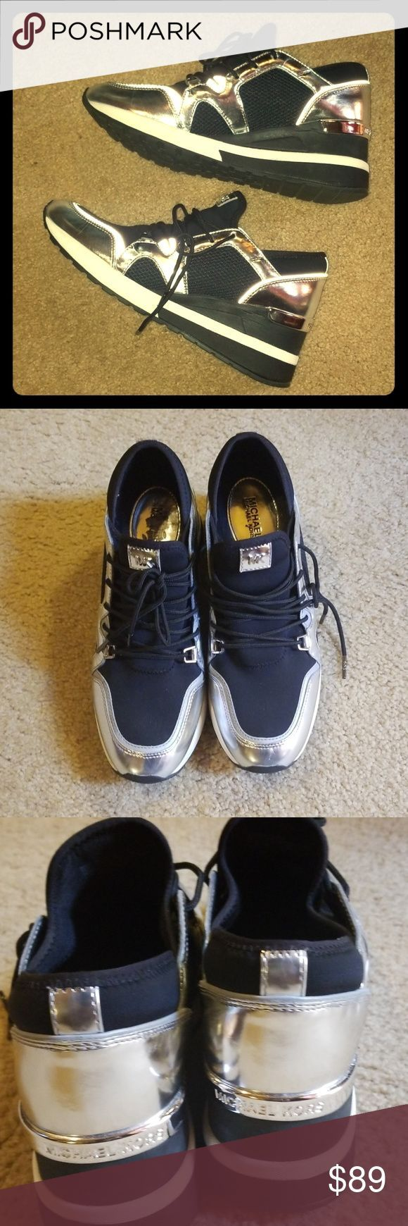 Michael Kors MK Sneakers MK Liv lace up Trainers in blacksilver metallic EUC on Michael Kors MK Sneakers MK Liv lace up Trainers in blacksilver metallic EUC on