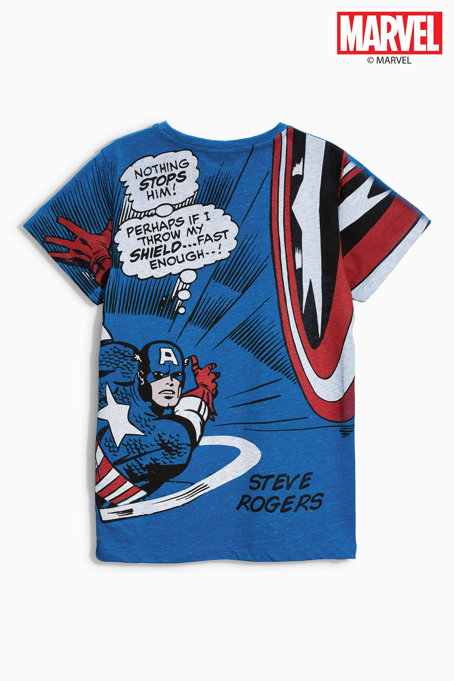 d322a0ccf Buy Blue Captain America T-Shirt (3-16yrs) from the Next UK online ...