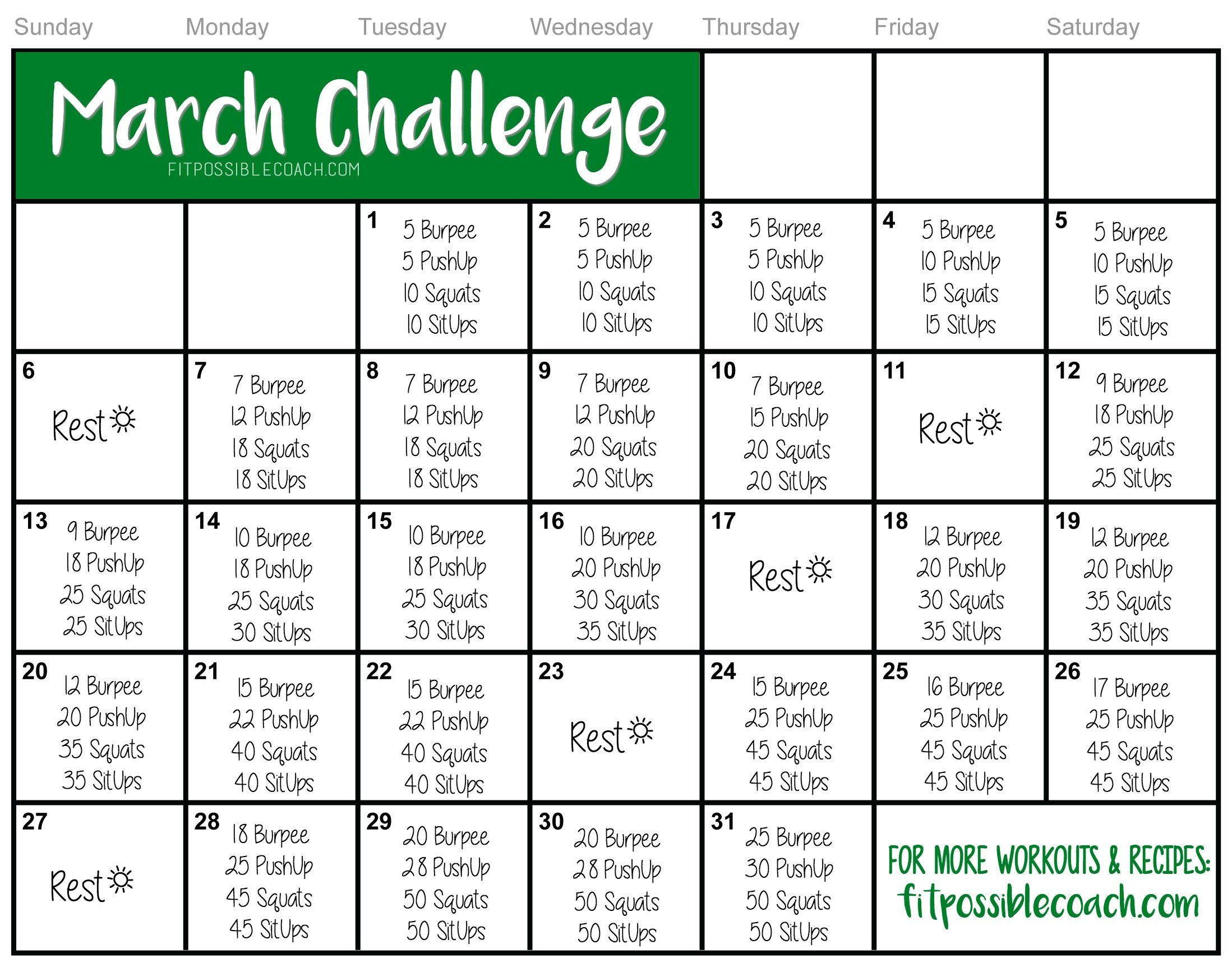 MARCH FITNESS CHALLENGE!!! ARE YOU UP FOR THE CHALLENGE? . Comment below 'I'M DOING IT' and then SHARE this on your wall to save it and invite others to do this too! Make sure you print it or save it to your phone/computer so it's easy to find! Facebook: http://facebook.com/coachtheshore #fitnesschallenge #burpee #pushups #situps #marchchallenge #squatchallenge