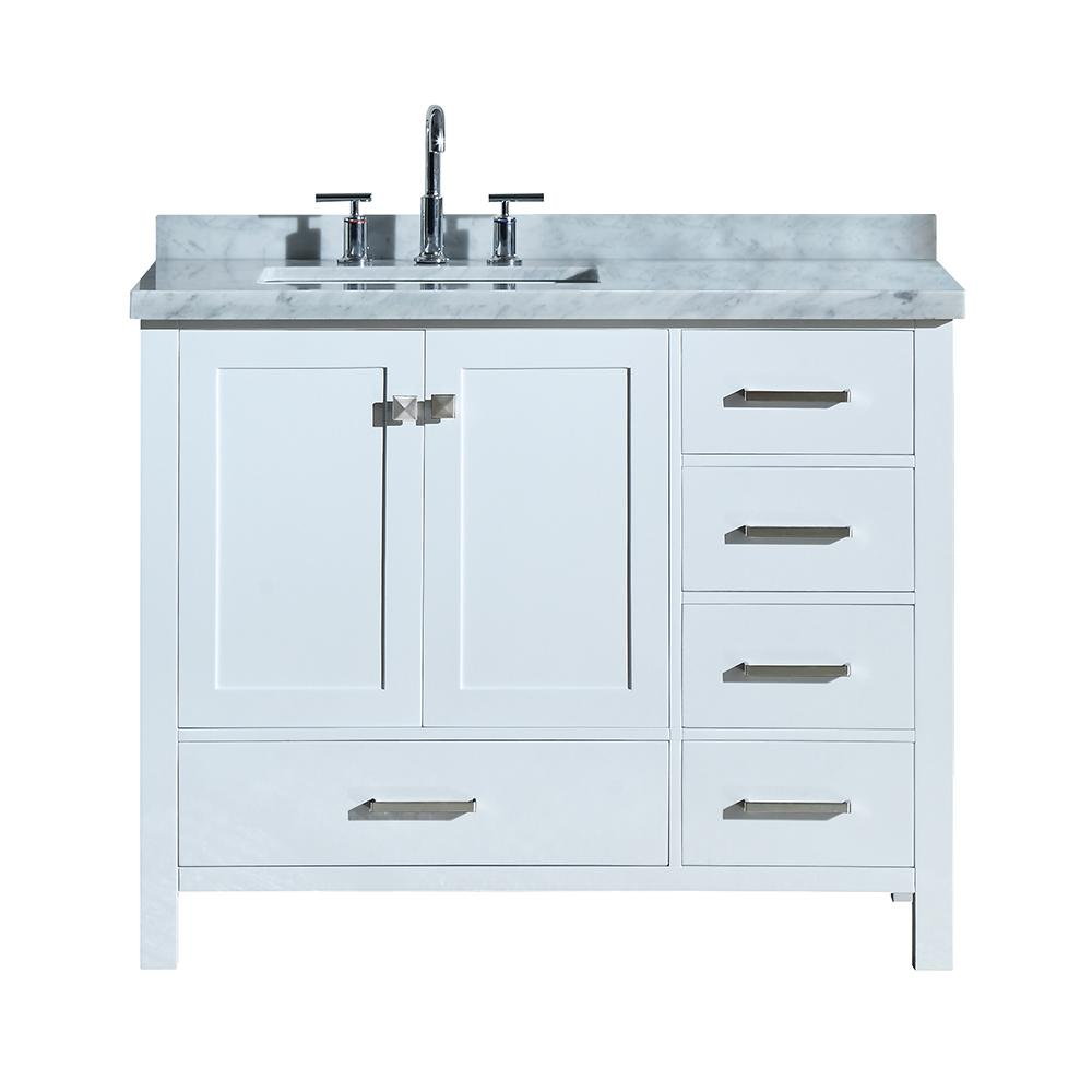 Ariel Cambridge 43 In Bath Vanity In White With Marble Vanity Top