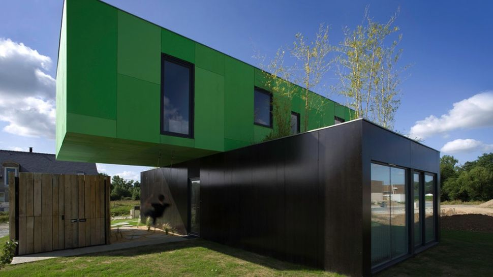 Unique Floating Home In Green And Brown Combined WIth Glazed Wall