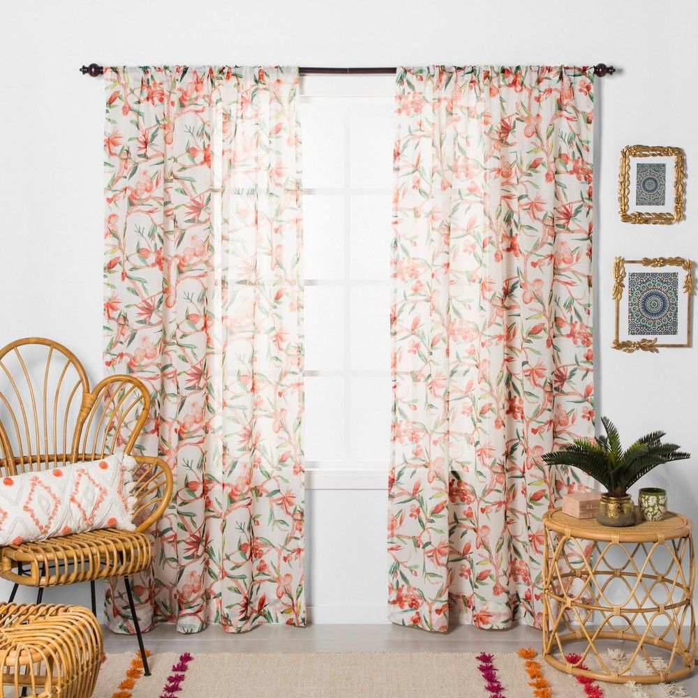 """108""""x54"""" Tropical Floral Sheer Window Curtain Panel Coral"""