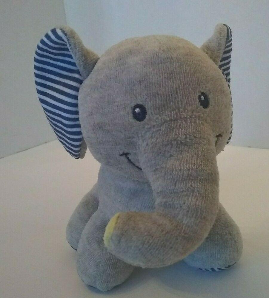 Baby Starters Plush Gray Elephant Rattle Soft Toy 6 Velour Blue Stripe Ears Babystarters Baby Stuffed Animals Baby Plush Toys Soft Toy