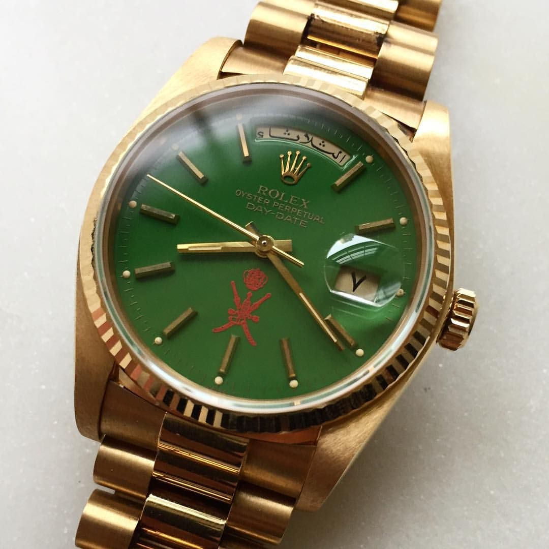 Wrist watch price in oman - Gold Rolex Day Date With Green Stella Red Oman Dial