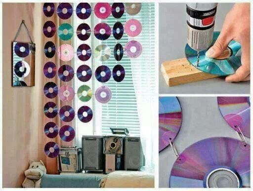 Use paper clips to join cd's together to create curtain, etc.   --  picture only