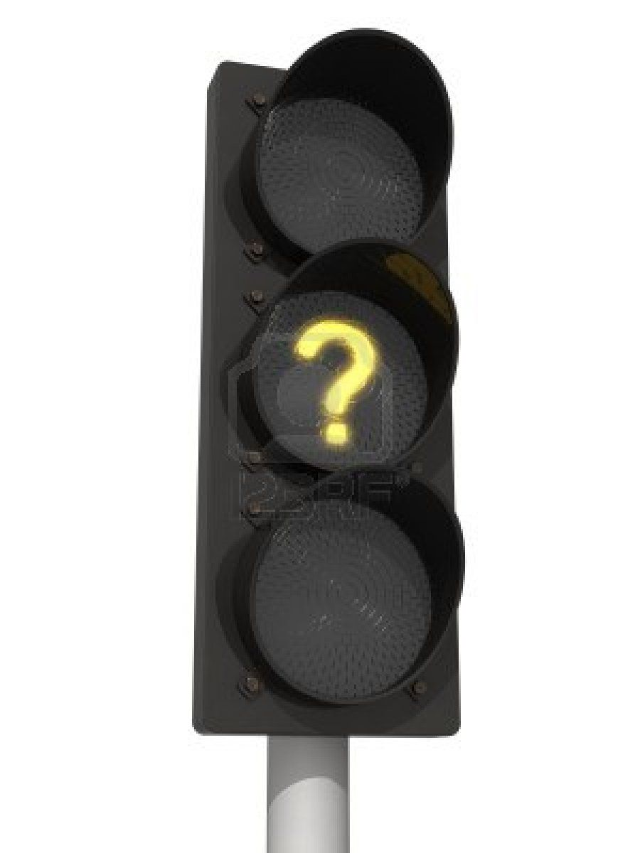 Traffic lights with yellow question mark signal. Isolated on the white background.