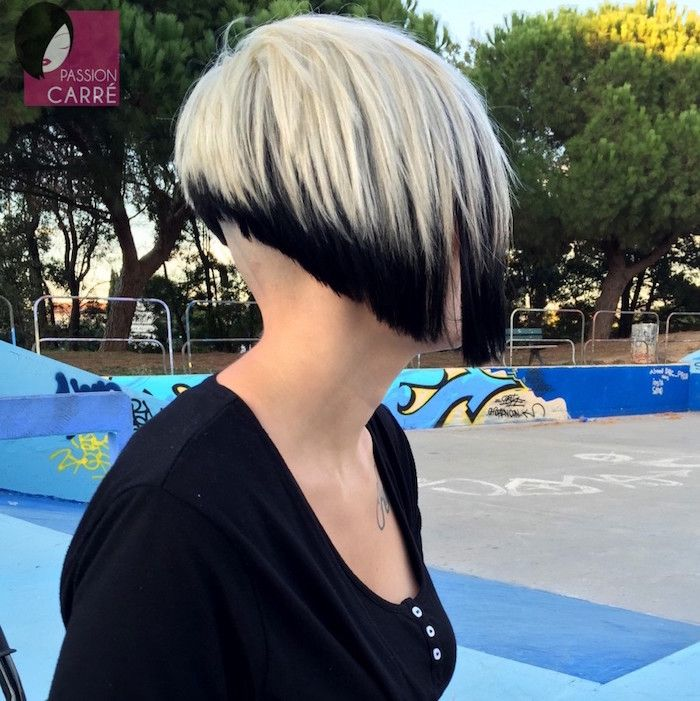 Carré plongeant nuque rasée - le style dans le cou | Multicolored hair, Short hair styles, Bob ...