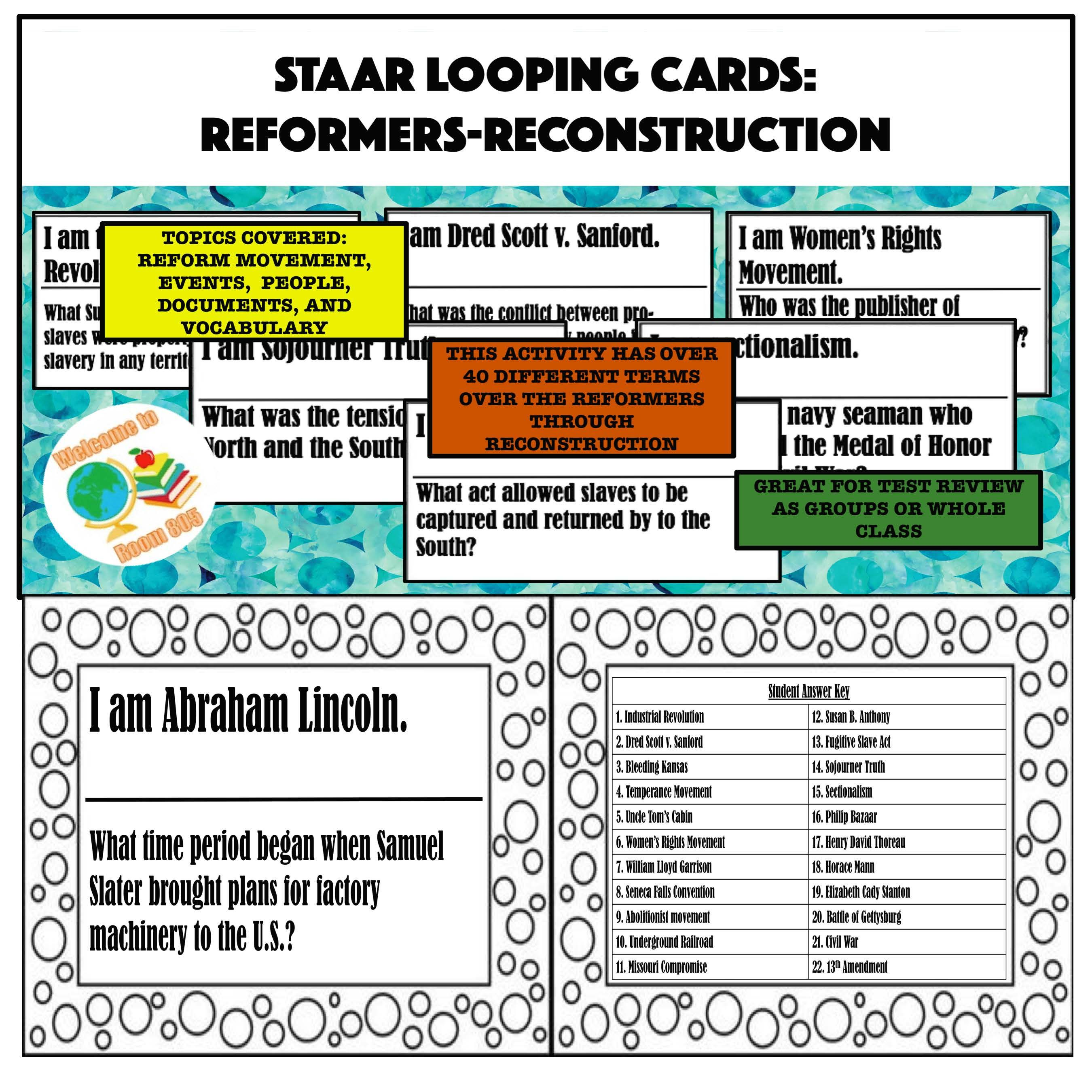 Staar Review Looping Cards For Reformers Reconstruction