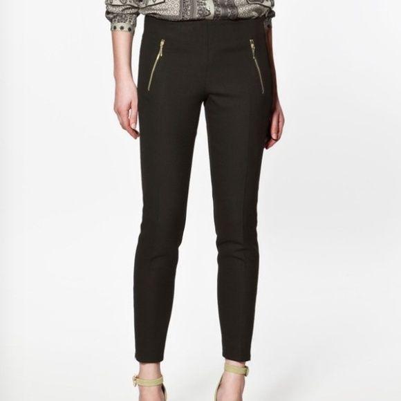 "Women's slacks Black women's slacks with front gold zippers, side zipper closure, 63% polyester, 33% viscose, 4% spandex. 10"" rise, 30.5"" inseam, 16"" waist, like new Pants"