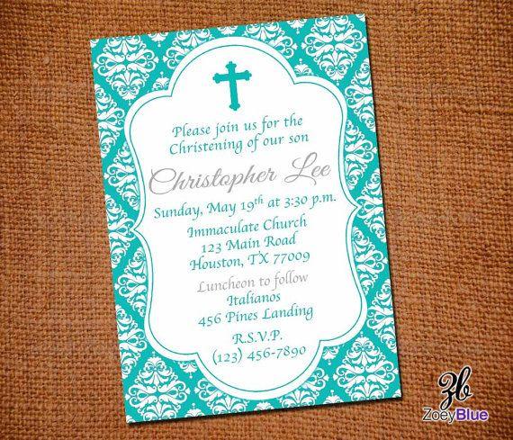 Baptism Invitation Teal Turquoise Blue Damask Girl First Communion - best of sample invitation of baptism
