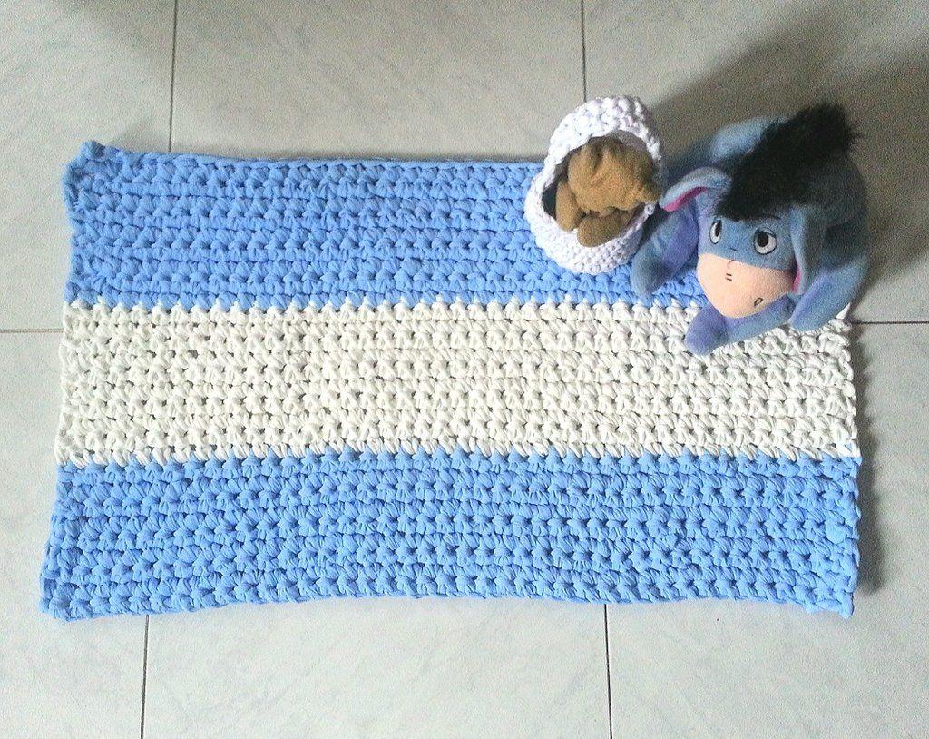 Tappeto Alluncinetto Rettangolare : Tappeto rettangolare in fettuccia a crochet art le mie