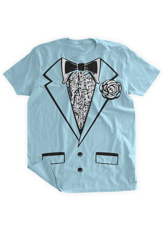 Funny Tuxedo Tshirt Blue Tuxedo Shirt Wedding Party Groom Retro ...