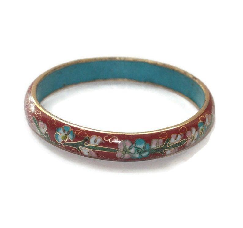 Beautiful vintage blue enamel cloisonne bracelet flower red green silver