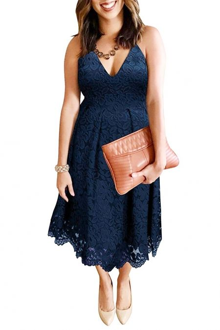 Wholesale Midi Dresses, Cheap Blue Lace Floral V Neck Backless Cocktail A-Line Dress Online #backlesscocktaildress