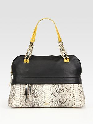 Louboutin Marianne Leather And Python Bowling Bag Saks