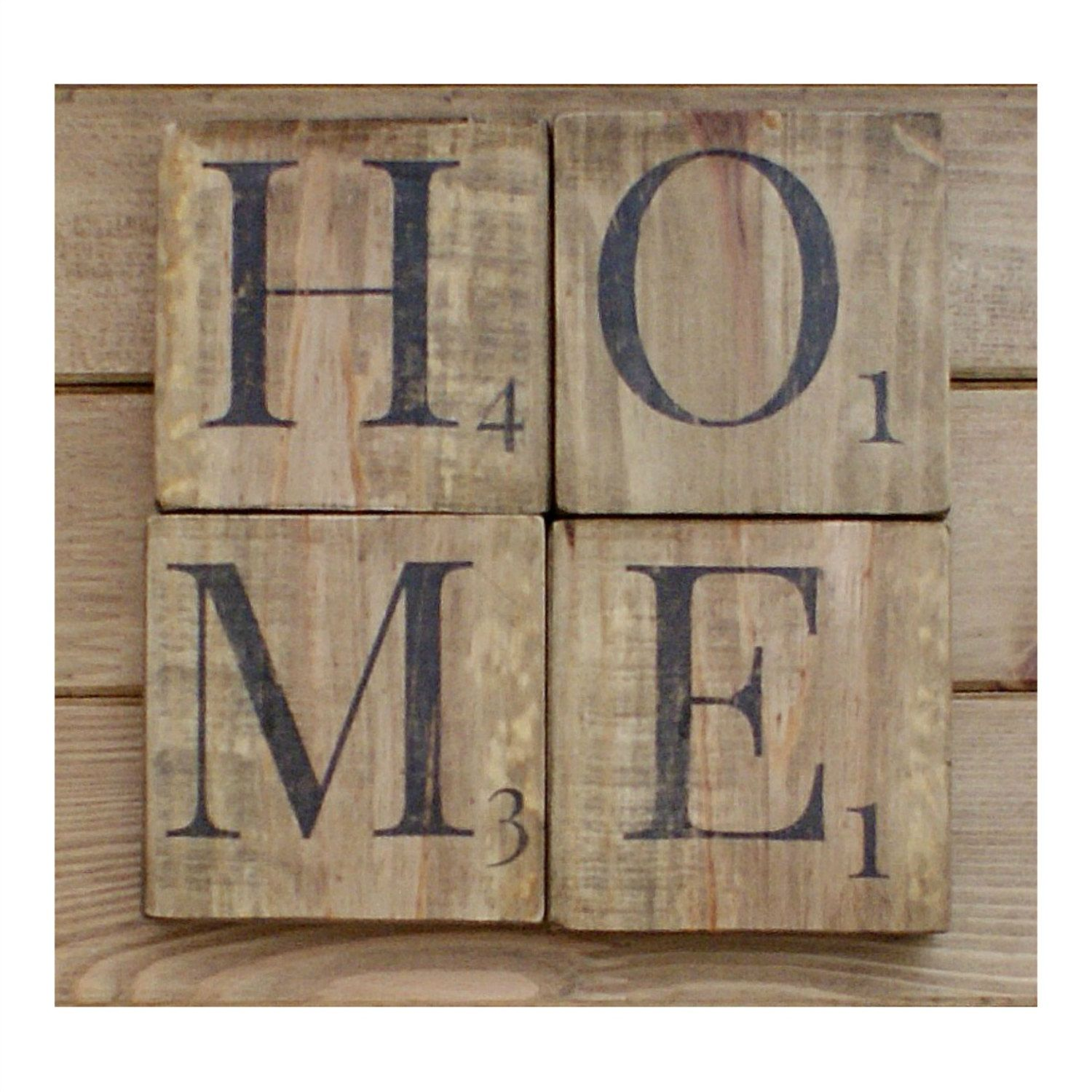 home sign wooden scrabble wall wood rustic home chic. Black Bedroom Furniture Sets. Home Design Ideas
