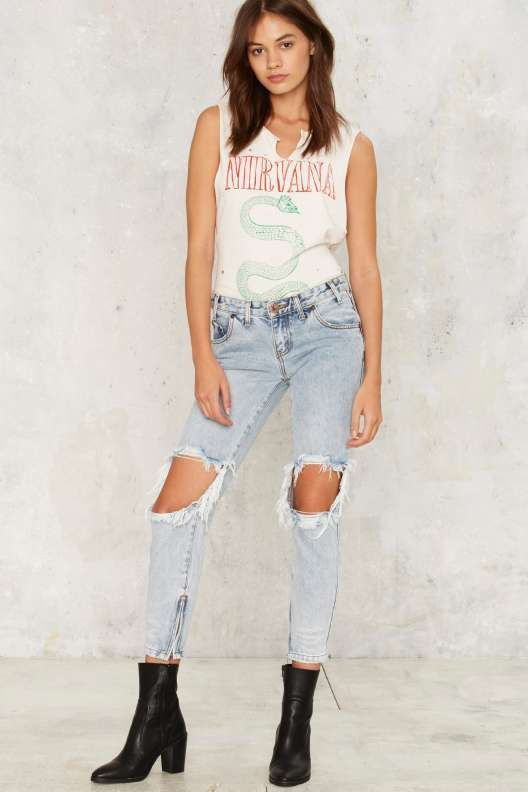 One Teaspoon Freebird Skinny Jeans - Blue Malt - Bottoms
