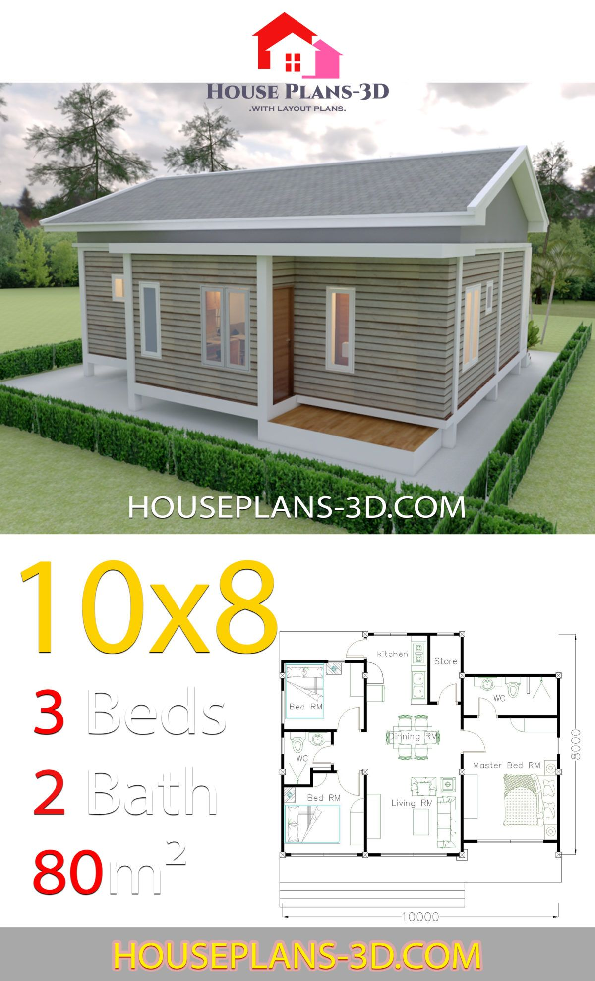 House Plans 10x8 With 3 Bedrooms Gable Roof House Plans 3d Gable Roof House House Plans Small House Design Plans