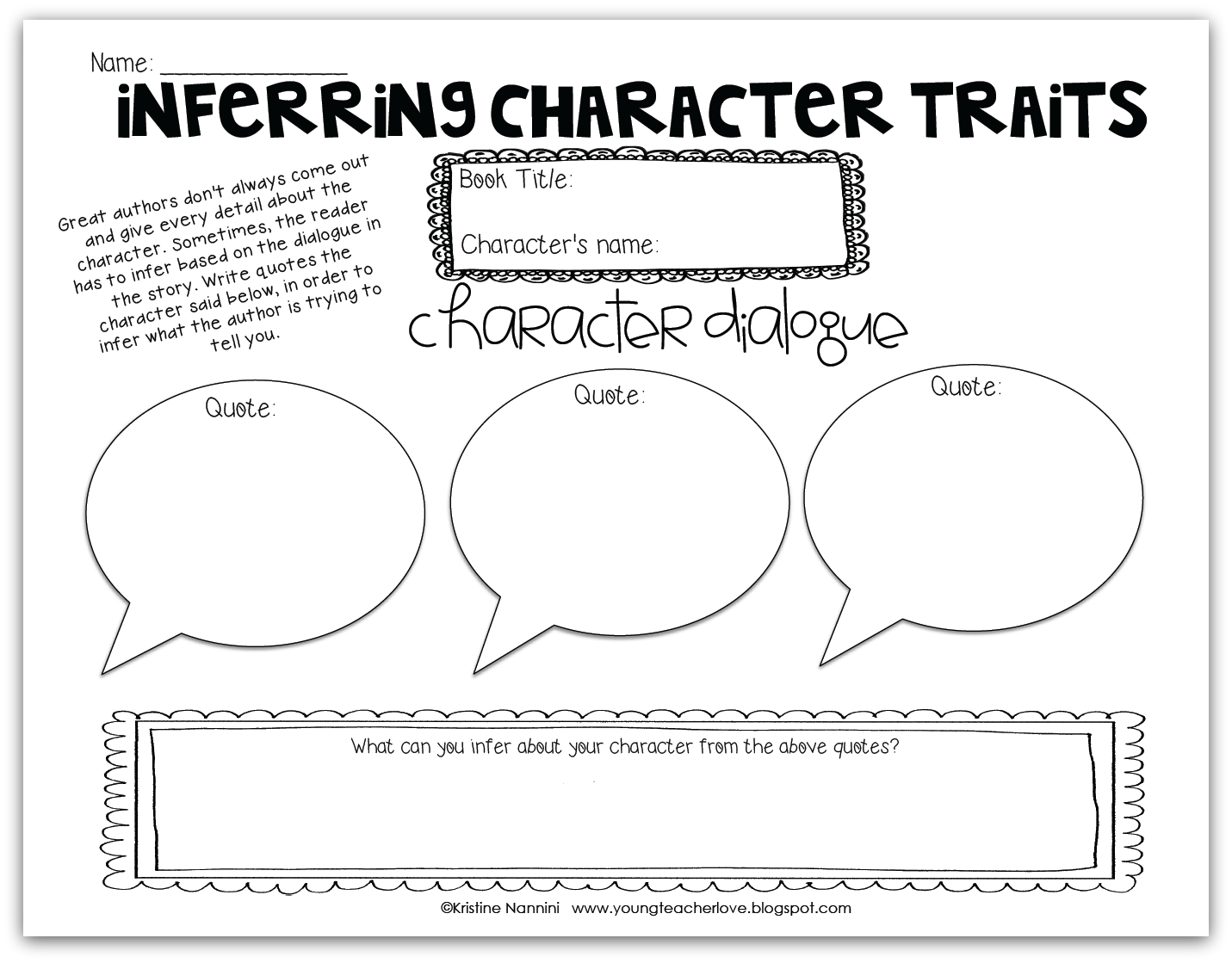 Inferring Character Traits Through Dialogue Plus A Free Graphic Organizer