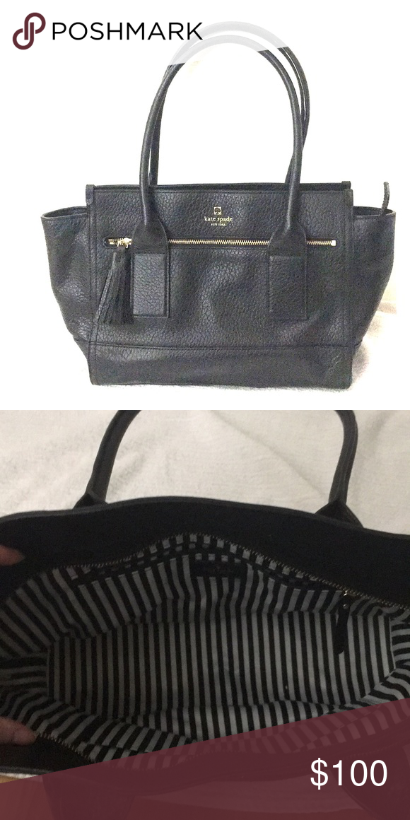 9a4adf1de3 Kate Spade pebbled leather tote Chic black leather Kate Spade tote perfect  for a day at the office, roomie enough for a small laptop or tablet.