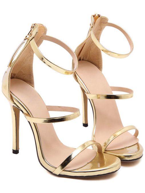 2e58e063e7 Shop Gold Straps High Stiletto Heel Sandals online. SheIn offers Gold  Straps High Stiletto Heel