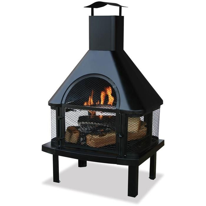 Wood fireplace offers 360 degrees of visibility and warmth.