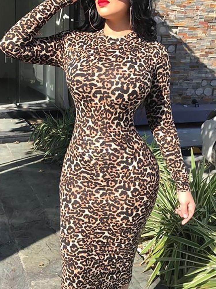 5dc7ccdb294f Leopard Print Long Sleeve Midi Dress | Clothes in 2019 | Long sleeve ...