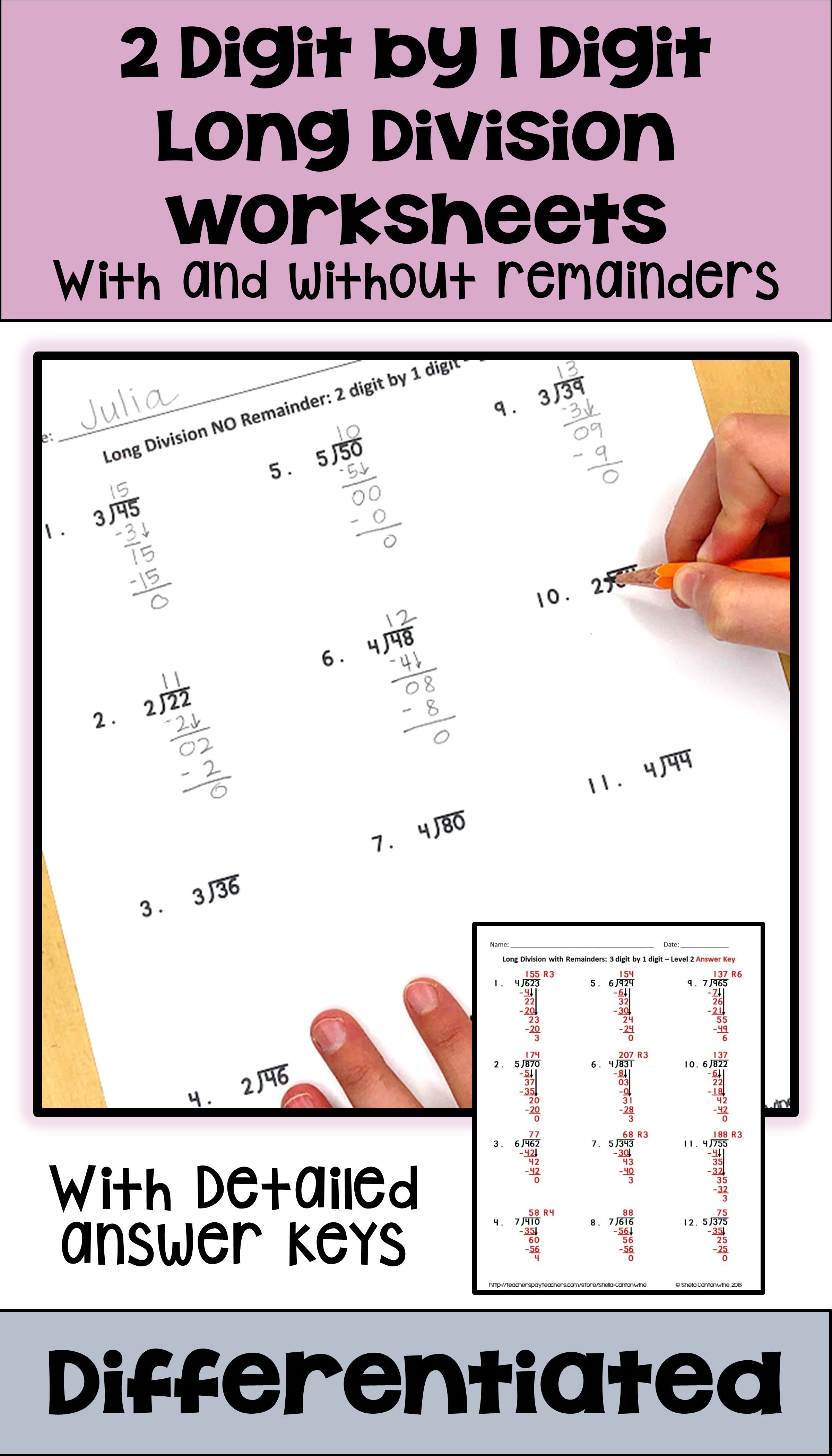 2 Digit By 1 Digit Long Division Worksheets