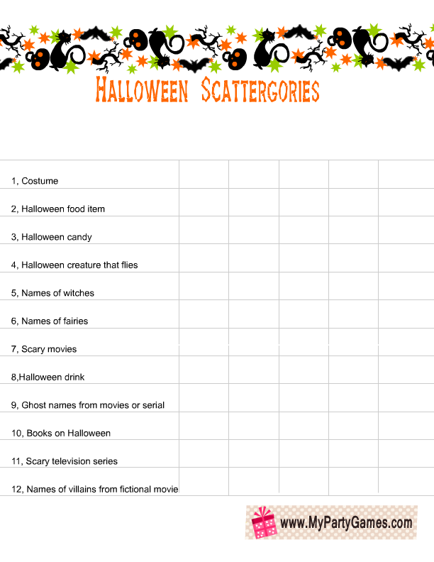 This is a photo of Effortless Scattergories Lists Printable