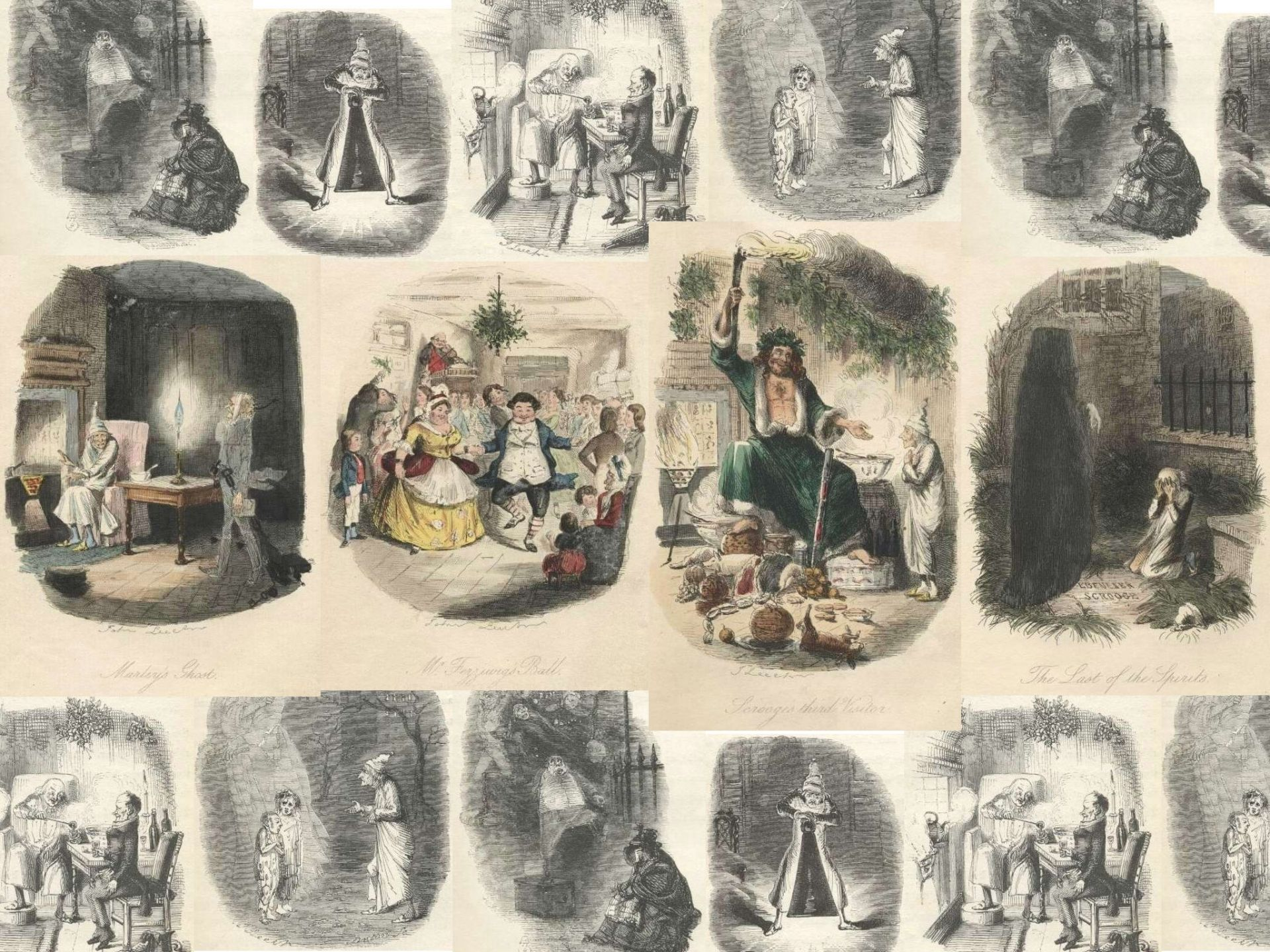 a collection of illustrations by john leech from the first edition of charles dickens a - A Christmas Carol First Edition