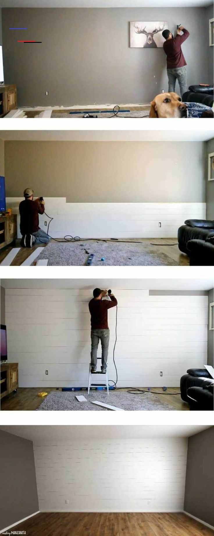 How To Make A Plywood Shiplap Wall - Making Manzanita Step by Step tutorial for how to make your own shiplap wall with plywood in living room | Easy DIY Farmhouse Style shiplap accent wall painted white | Bring out your inner Joanna Gaines #DIY #homeimprovement #shiplap #homedesign<br> Are you looking for a fun way to add a little farmhouse charm to a room? You can make your own shiplap wall with plywood! Learn how we saved money by making our own shiplap with plywood instead of buying the prema