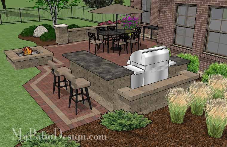 Large Brick Patio Design With Grill Station Bar And Fire Pit | 515 Sq Ft
