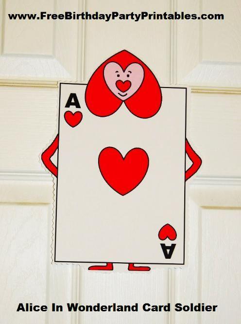 Alice In Wonderland Card Soldiers Printable Cutout Alice In Wonderland Props Alice In Wonderland Alice In Wonderland Birthday
