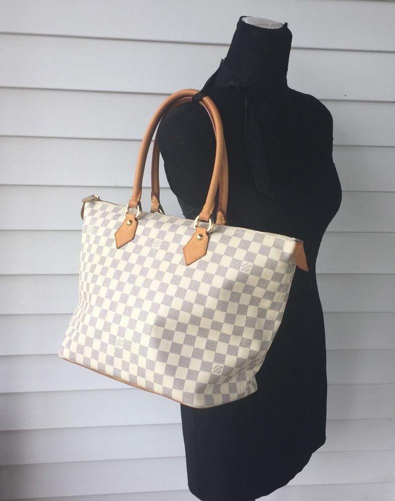 3ef9ce710a23 Authentic LOUIS VUITTON Damier Azur Saleya MM Tote Bag Purse White  pre-owned  LouisVuitton  HandBag