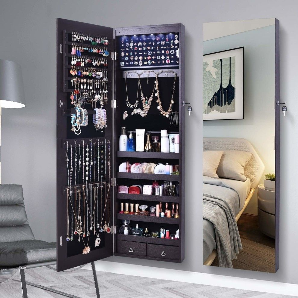 Jewelry Cabinet Lockable Full Length Mirrored Jewelry Armoire With Images Jewelry Cabinet Wall Storage Cabinets Bedroom Storage Cabinets