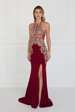e53ee5fcee5d Burgundy Fitted prom dress with slit GLS 1519B in 2019 | Prom ...