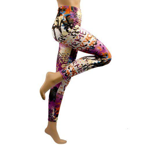 New Multi Color Graffiti Print Leggings Stretch « Clothing Impulse
