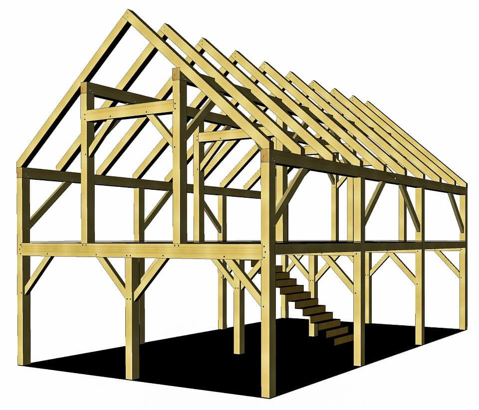 24 36 Timber Frame Barn Home Plan Timber Frame Hq Timber Frame Barn Timber Frame Plans Barn Plans